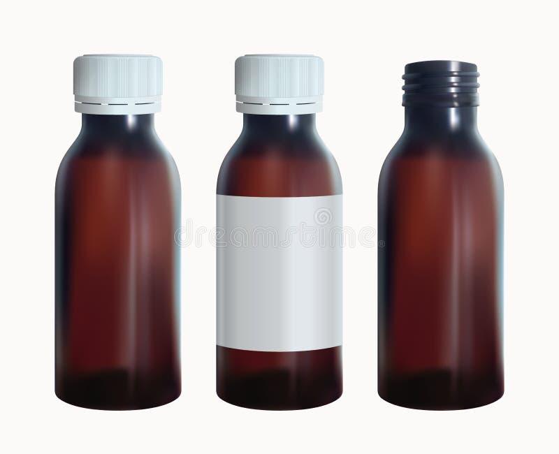 Brown medyczna butelka z etykietką Buteleczki szkła szablon Odosobniony wektor ilustracja wektor