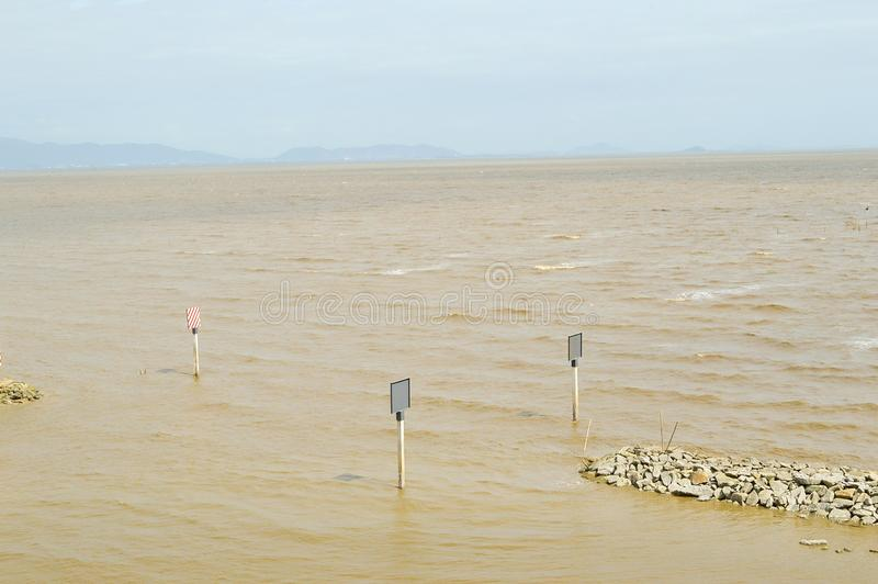 Brown-Meer im bangpakong, Chachoengsao bei Thailand lizenzfreie stockfotografie