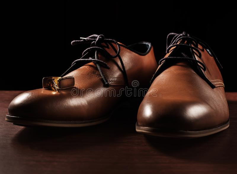 Mens shoes with cuff. Brown mens shoes with cuff stock photos