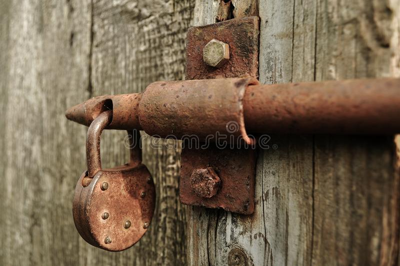 Brown Metal Padlock stock photo