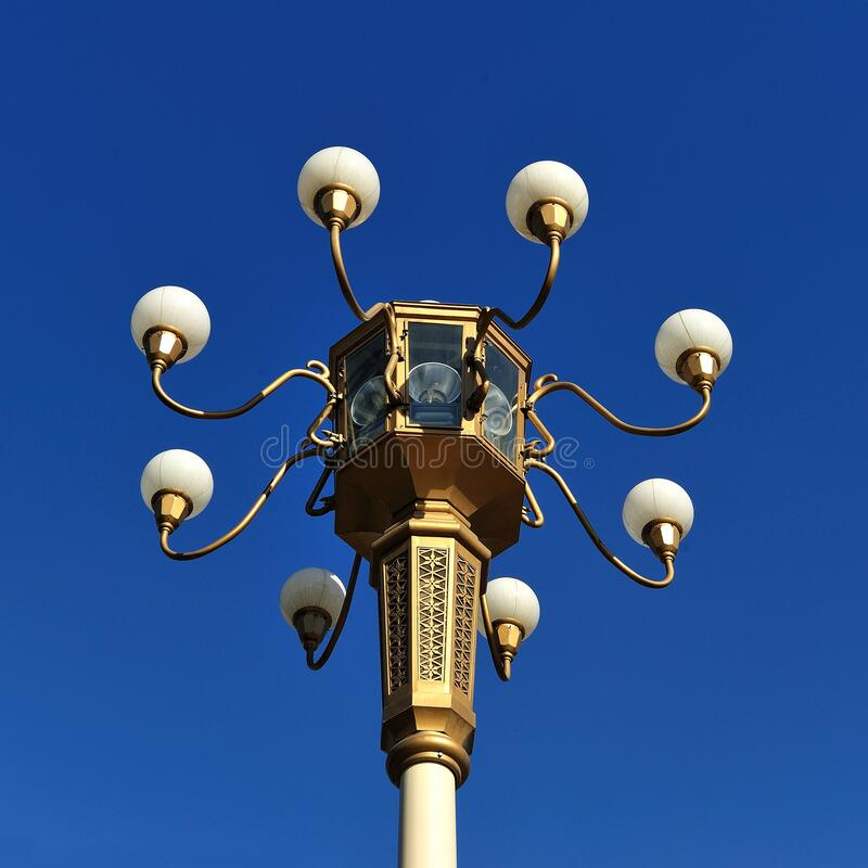 Brown Metal Street Lamp Under Clear Blue Sky during Daytime royalty free stock image