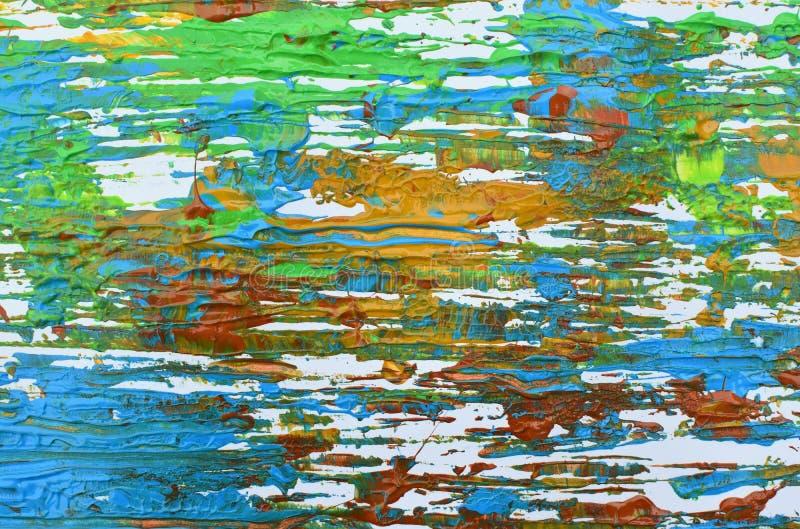 Brown, mezcla azul verde, amarilla de contrastes suaves, pinta el fondo de acrílico foto de archivo