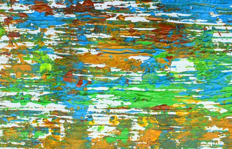 Brown, mezcla azul verde, amarilla de contrastes suaves, pinta el fondo de acrílico imágenes de archivo libres de regalías