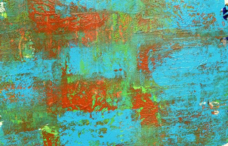 Brown, mezcla azul verde, amarilla de contrastes suaves, pinta el fondo de acrílico fotografía de archivo libre de regalías