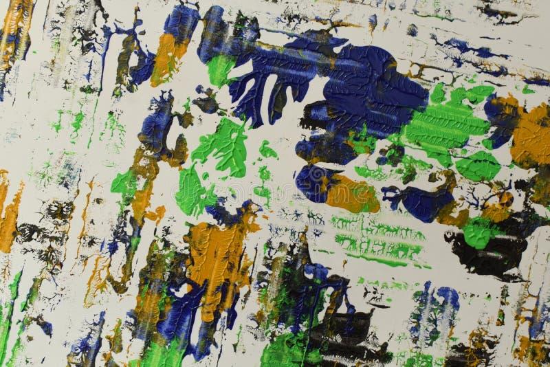 Brown, mezcla azul verde, amarilla de contrastes suaves, pinta el fondo de acrílico fotos de archivo libres de regalías