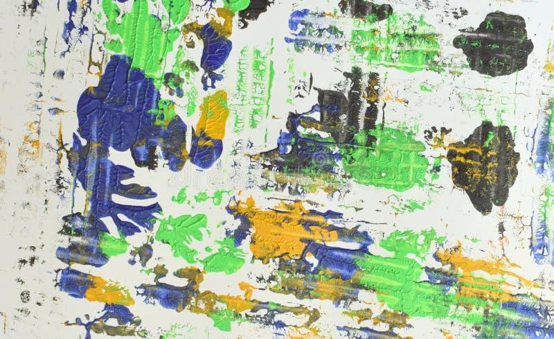 Brown, mezcla azul verde, amarilla de contrastes suaves, pinta el fondo de acrílico imagen de archivo