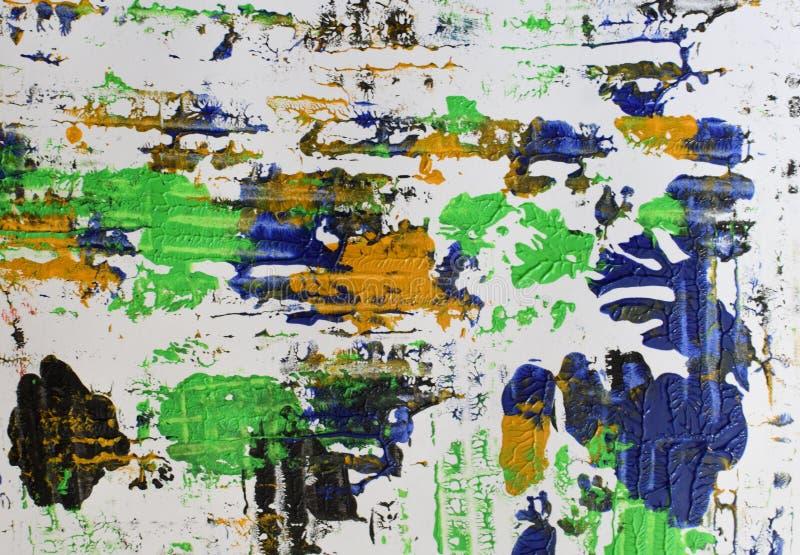 Brown, mezcla azul verde, amarilla de contrastes suaves, pinta el fondo de acrílico foto de archivo libre de regalías
