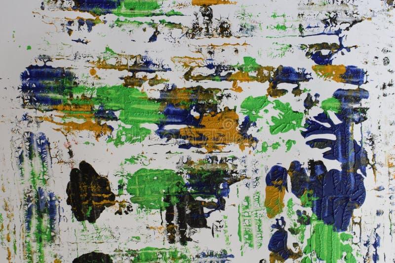 Brown, mezcla azul verde, amarilla de contrastes suaves, pinta el fondo de acrílico fotografía de archivo