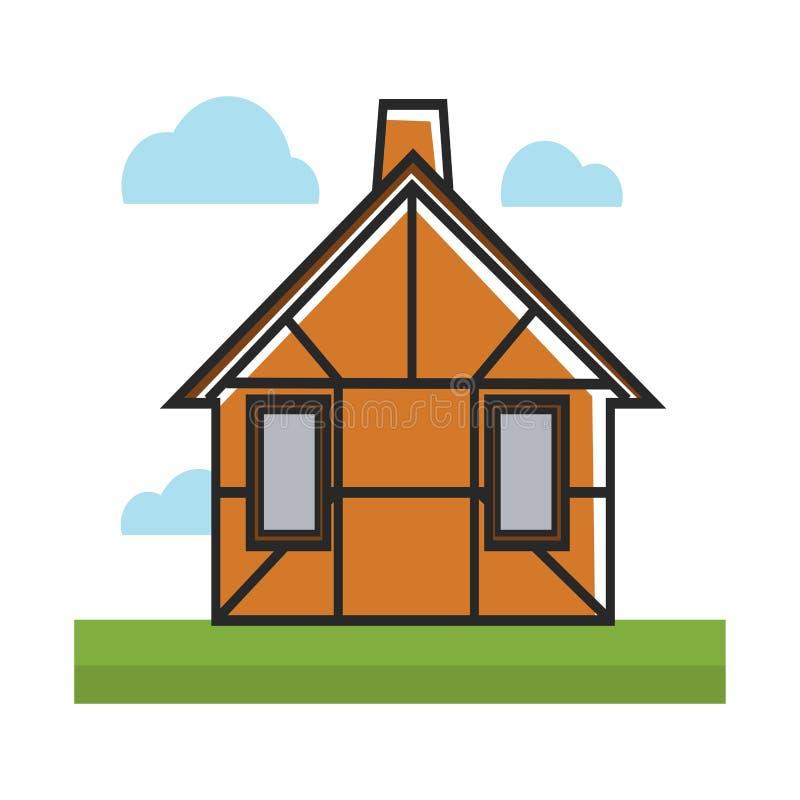 Brown mieszkaniowy dom odizolowywający na białej kolorowej ilustraci ilustracji
