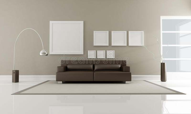 Download Brown minimalist interior stock illustration. Illustration of sofa - 12917518