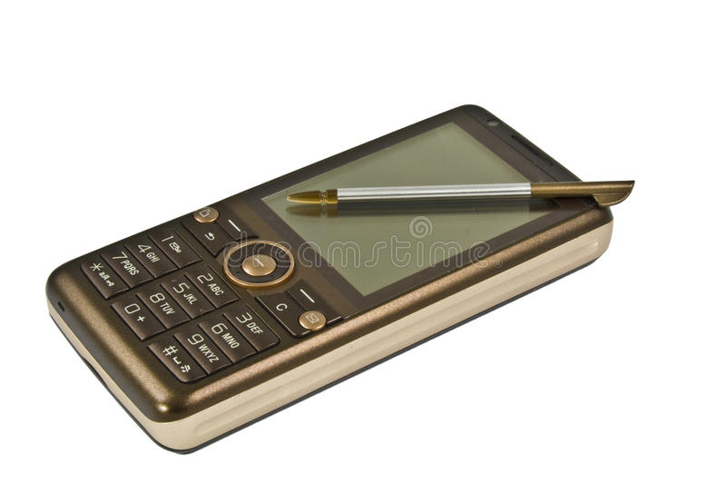 Brown Mobile Phone With Stylus Stock Images