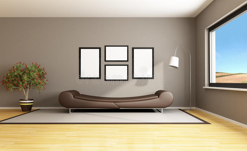 Brown modern livingroom stock illustration. Illustration