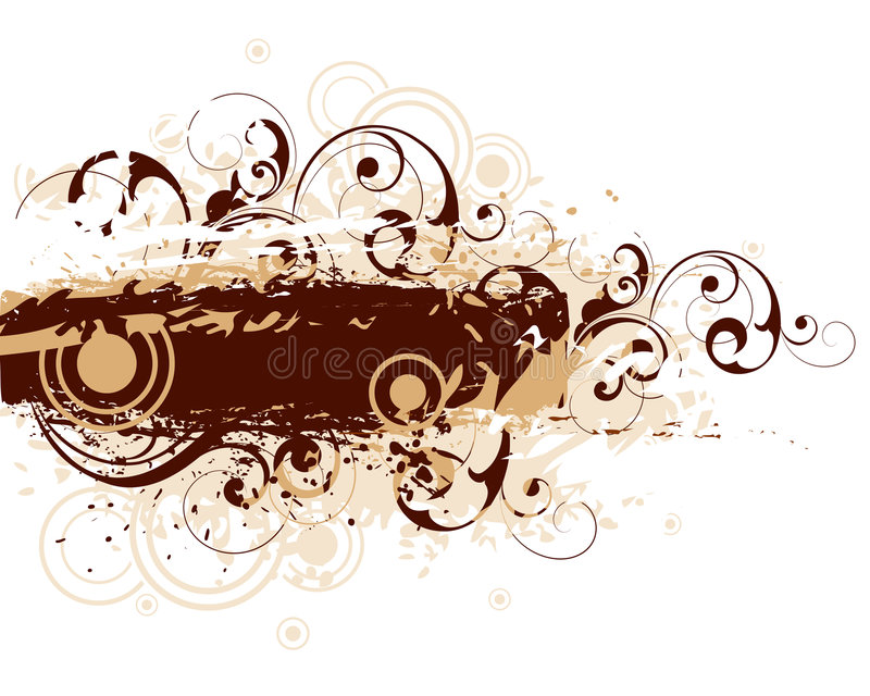 Brown motif with curls royalty free illustration