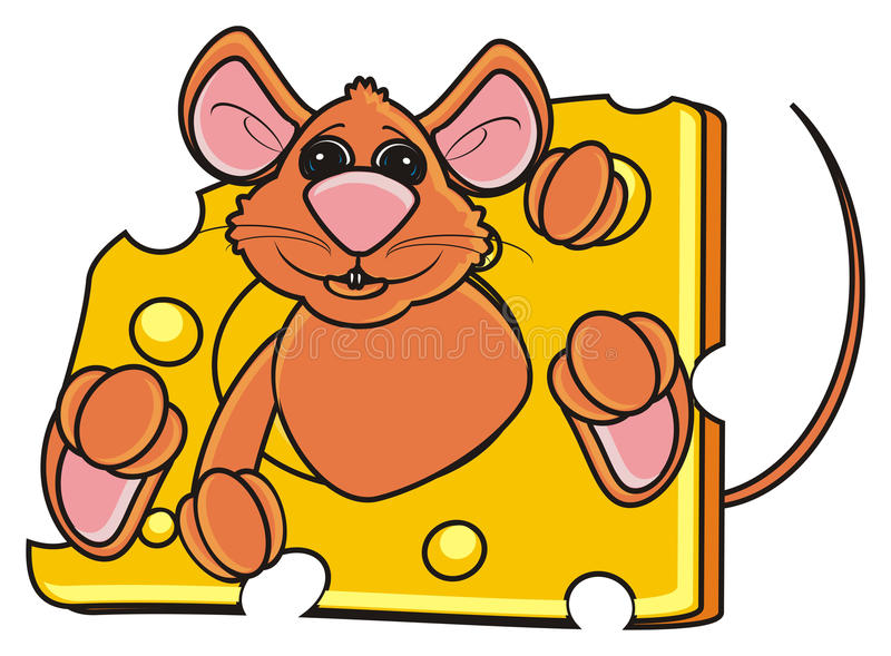 Brown mouse peeking out of a piece of cheese vector illustration