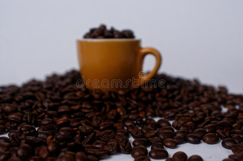Brown Mug Filled With Coffee Beans royalty free stock photos