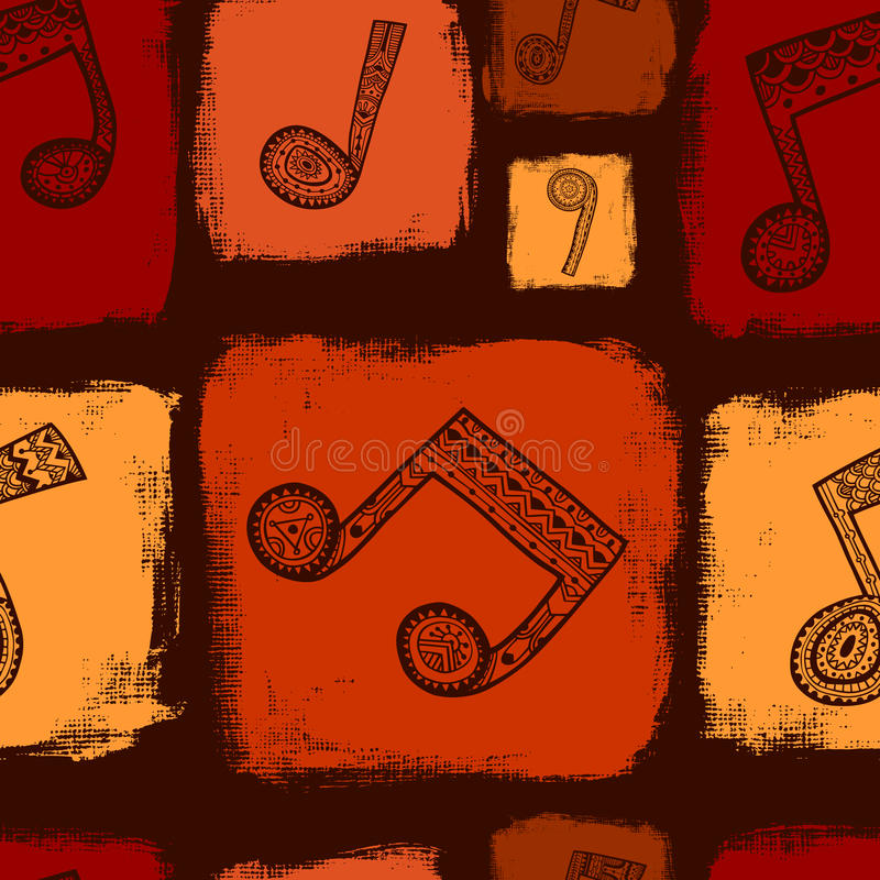 Brown music seamless pattern stock illustration