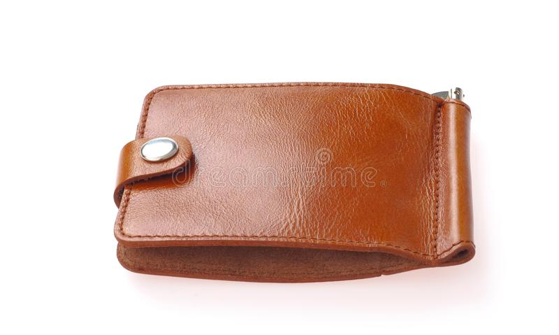Brown natural leather wallet isolated on white background. Expen. The Brown natural leather wallet isolated on white background. Expensive man`s purse closeup royalty free stock photography