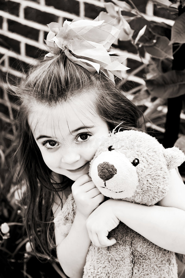 brown niedźwiadkowi dziewczynę trochę ton zdjęcie royalty free