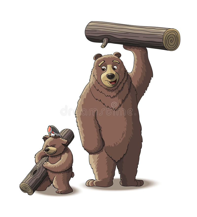 Brown niedźwiedź i lisiątko niedźwiedź niesiemy drewno obrazy royalty free