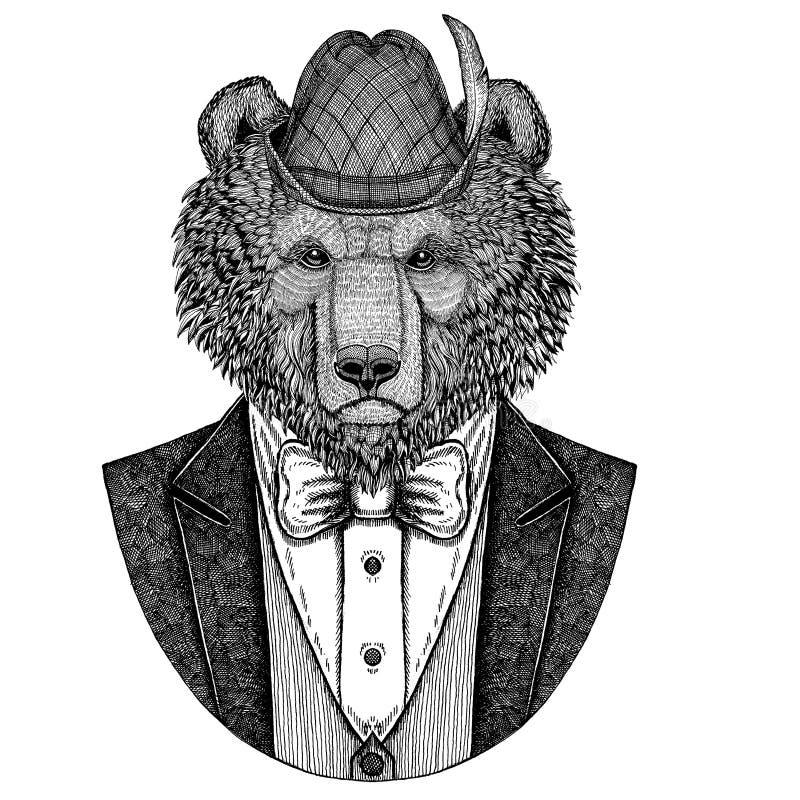 Brown niedźwiedzia rosjanina niedźwiedzia ręka rysująca ilustracja dla tatuażu, koszulka, logotypu Tirol Niedźwiadkowy jest ubran royalty ilustracja