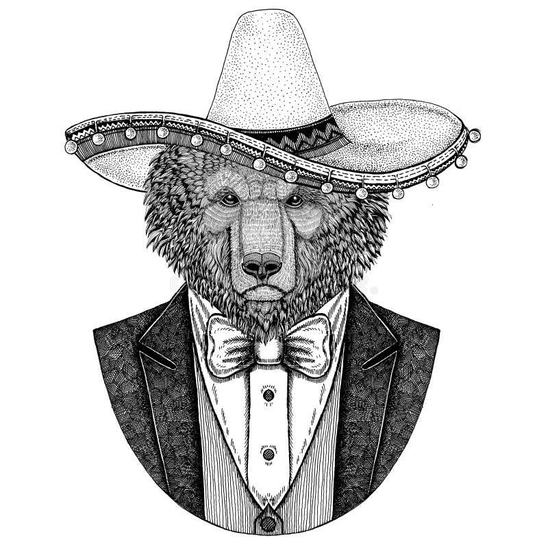 Brown niedźwiedzia rosjanina niedźwiedzia ręka rysująca ilustracja dla tatuażu, koszulki, kurtki, kamizelki i łęku krawata, logot royalty ilustracja