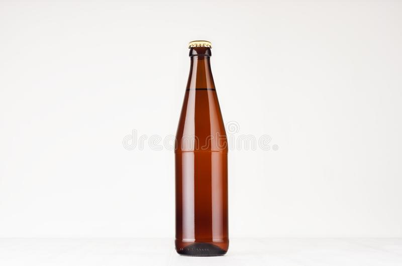 Brown NRW beer bottle 500ml mock up. royalty free stock photo