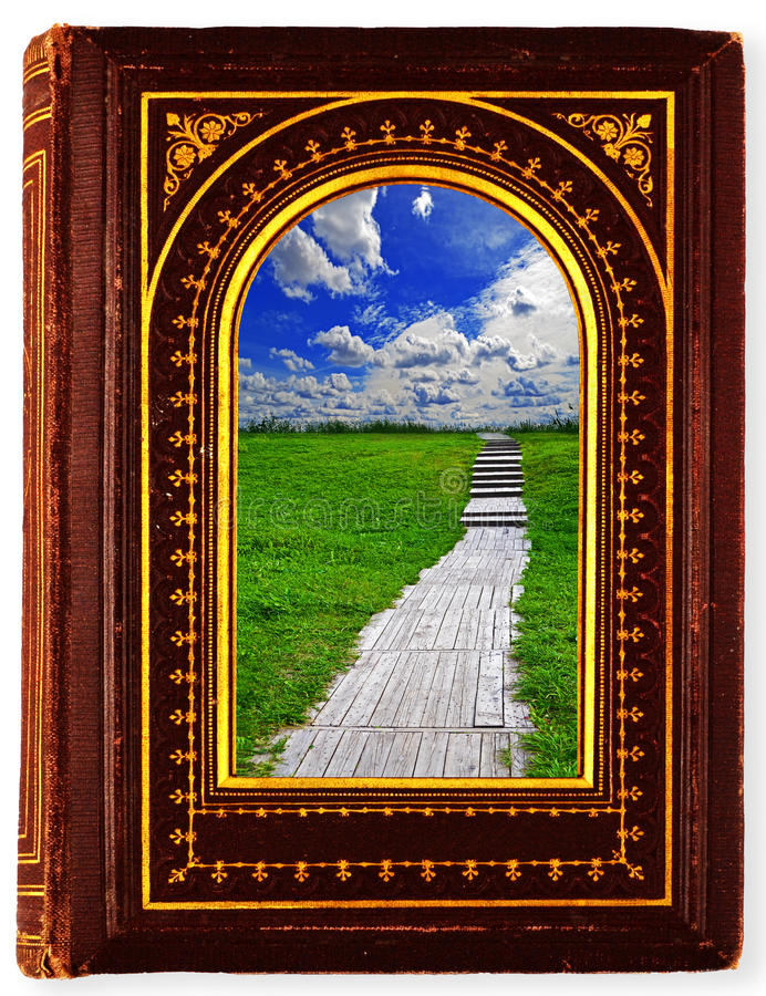 Book Travel. Brown, old book with gilded ornament isolated on white royalty free stock image