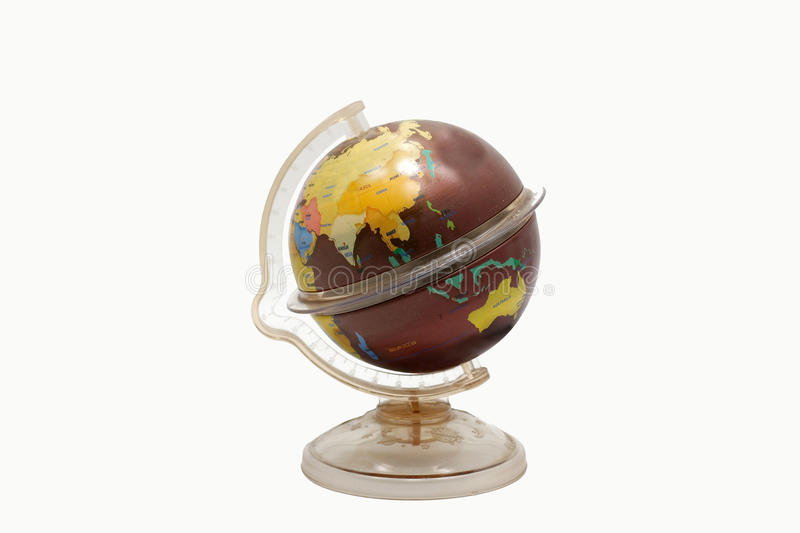 Brown old earth globe toy for learning world map on isolate. With cliping path stock images