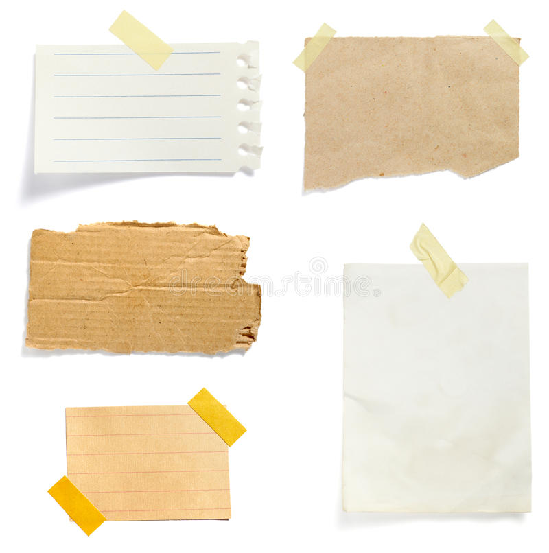 Brown old paper note background. Collection of old note paper paper on white background. each one is in full cameras resolution royalty free stock images