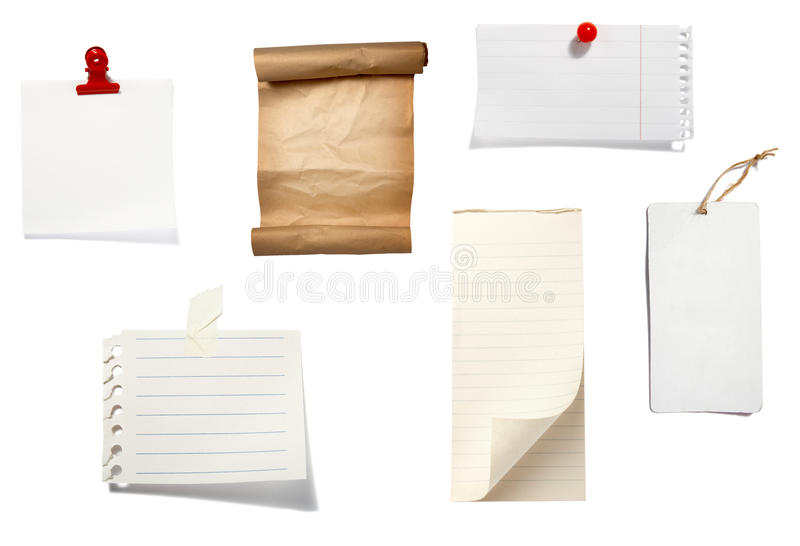 Brown old paper note background stock images