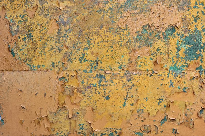 Brown old rusted corroded metal or steel sheet. Orange brown old rusted corroded metal or steel sheet horizontal wall background as abstract dirty textured stock photography