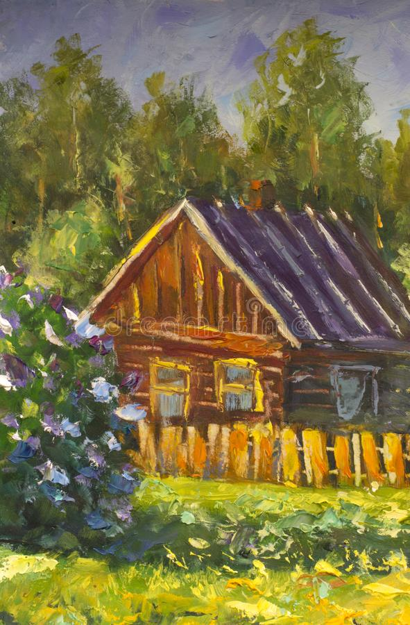 Brown old wooden house is a rustic landscape. Beautiful lilac bush. Rural summer landscape. Fragment of oil painting. A brown old wooden house is a rustic royalty free stock photos