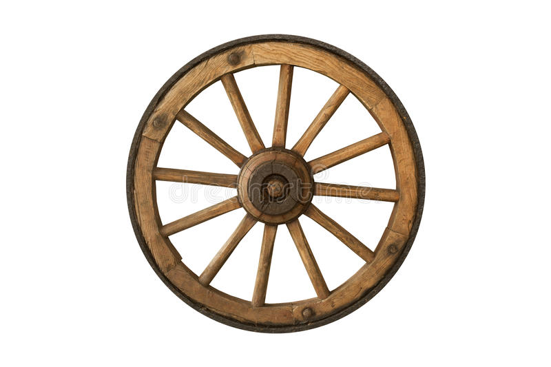 Brown old wooden wheel royalty free stock photography