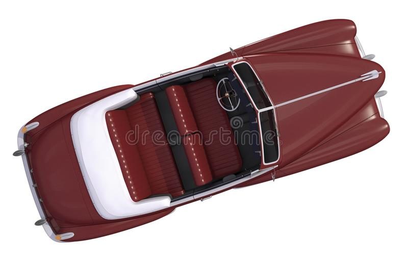 Brown Oldtimer Car Top View. 3D Render Illustration. Classic Car Isolated on White stock illustration