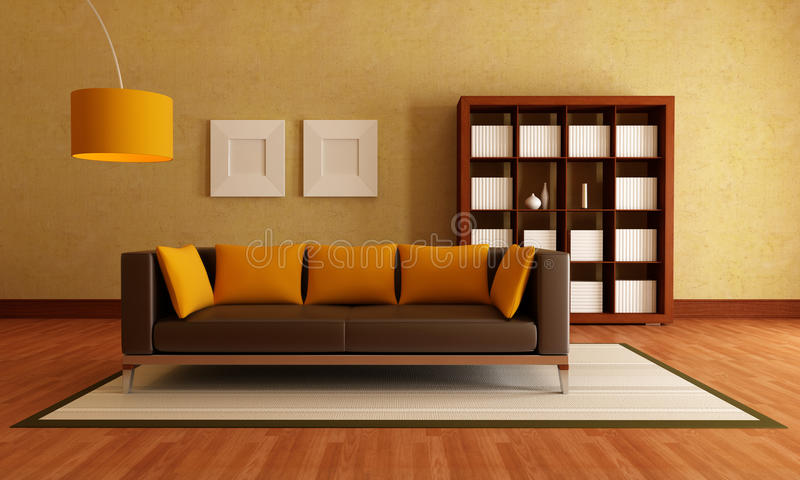 Brown and orange living room. Brown modern couch and wood bookcase in a living room / rendering
