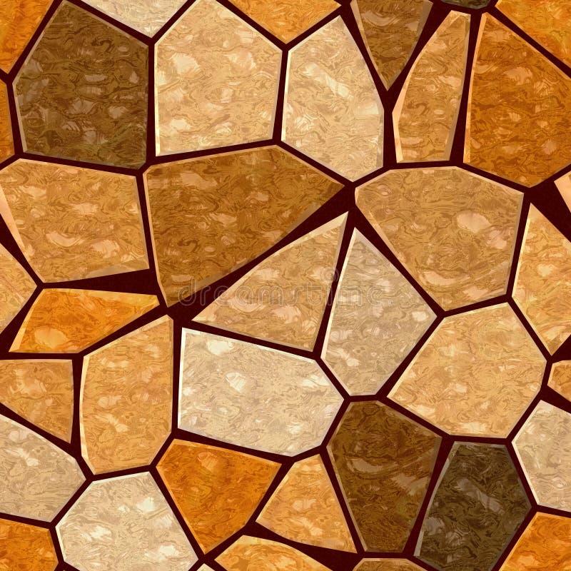 Brown orange marble irregular plastic stony mosaic seamless pattern texture background. With dark grout vector illustration