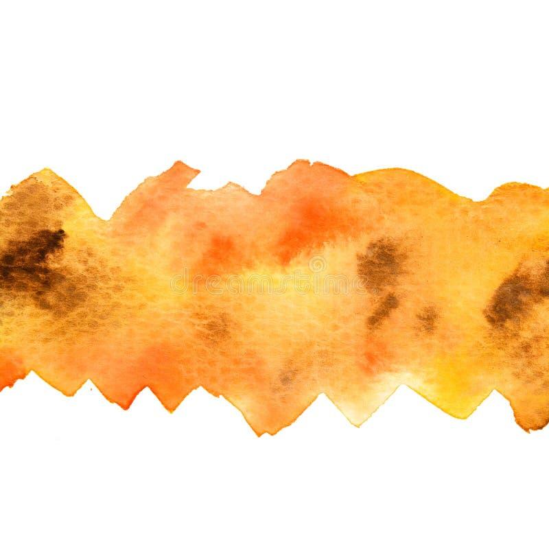 Brown orange yellow watercolor background. Brown orange yellow water color background stock illustration