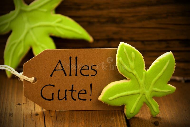 Brown Organicznie etykietka Z Niemieckim tekstem Alles Gute zdjęcia royalty free