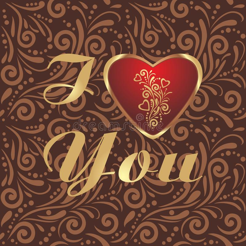 Brown ornamental pattern with shining heart to the valentines day royalty free stock photography