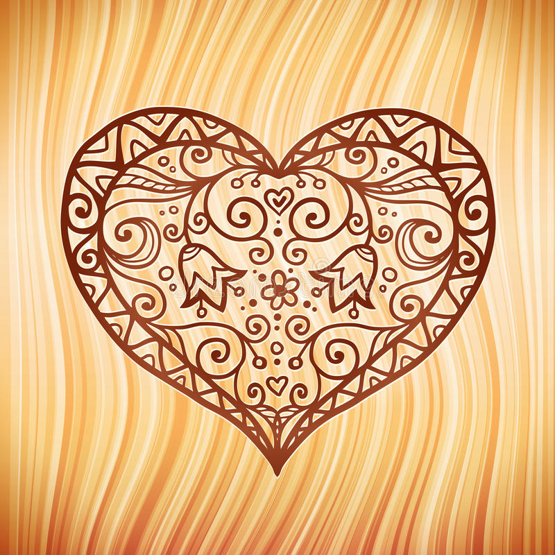 Download Brown Ornate Vector Heart On Wooden Background Stock Vector - Illustration: 28901890