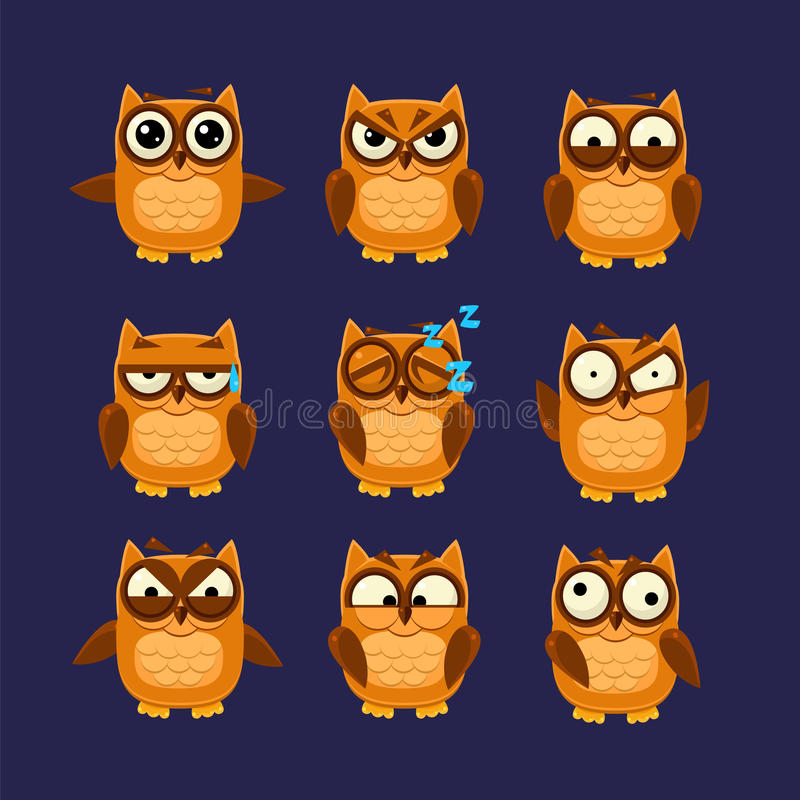 Brown Owl Emoji Collection. Flat Vector Cartoon Style Funny Drawing On Dark Blue Backgroud stock illustration