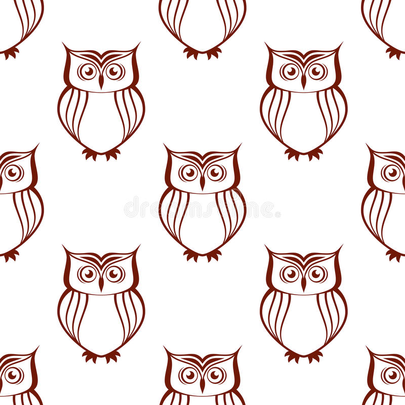 Brown owls silhouette seamless pattern. Brown and white owl silhouette seamless pattern with watchful birds vector illustration