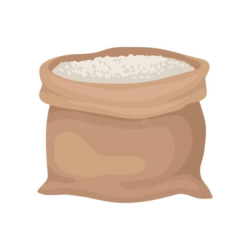 Brown płótna worek z ryż lub mąką Wypełniająca torba Organicznie produkt rolny Płaski wektorowy element dla promo sztandaru ilustracji