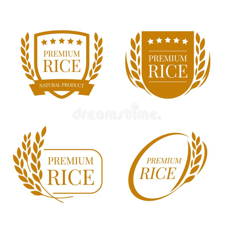 Brown paddy paddy rice premium organic natural product banner logo sign vector design stock illustration
