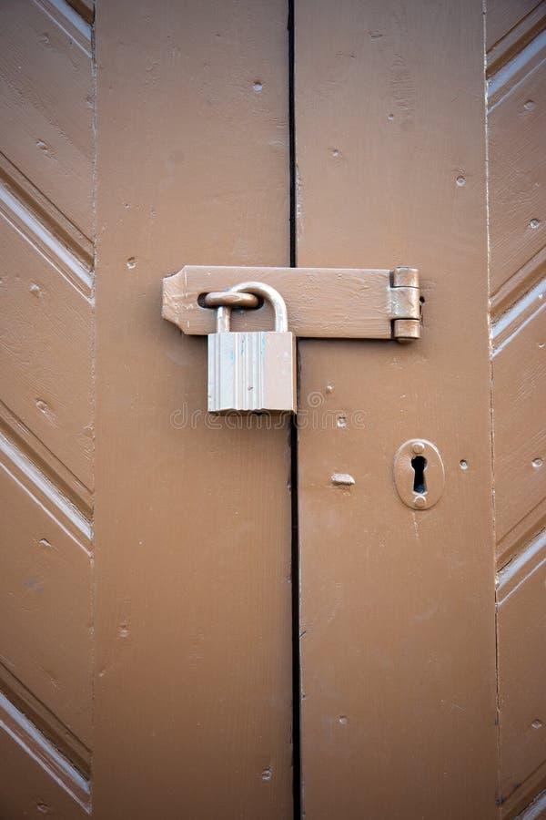 Brown padlock stock photography