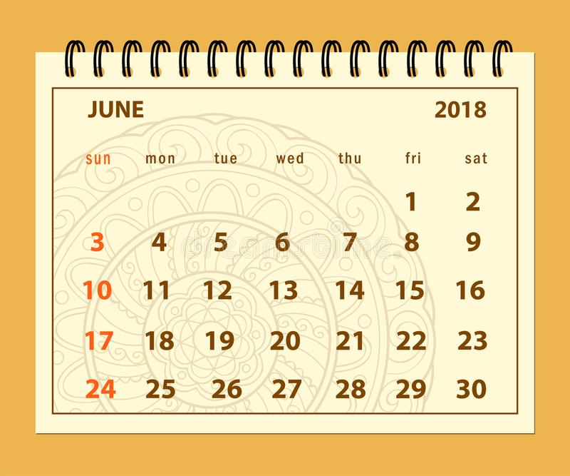 Brown page June 2018 on mandala background. Monthly calendar June year 2018 on mandala background. Layout a5 horizontal page of spiral calendar year 2018 stock illustration
