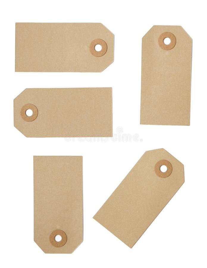 Brown pakuneczka etykietki obrazy stock