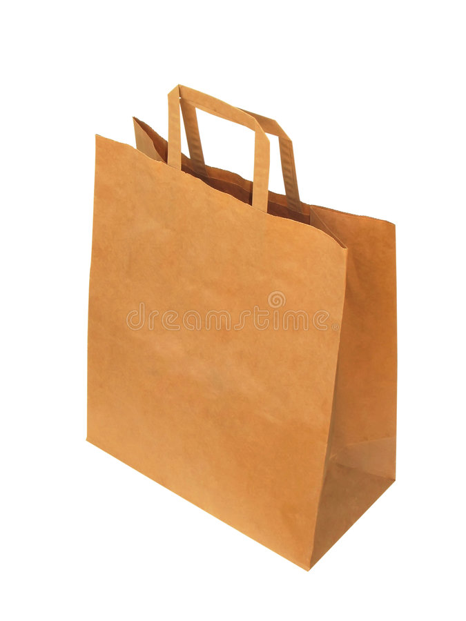 Brown paper-bag. Paper-bag, isolated on the white background stock image