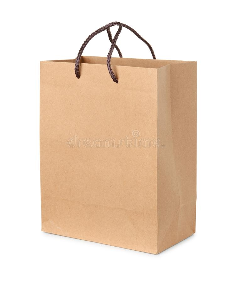 Brown paper bag. Isolated on white royalty free stock photography