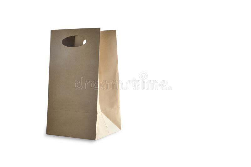 Brown paper bag. Brown paper bag isolated on white background royalty free stock image
